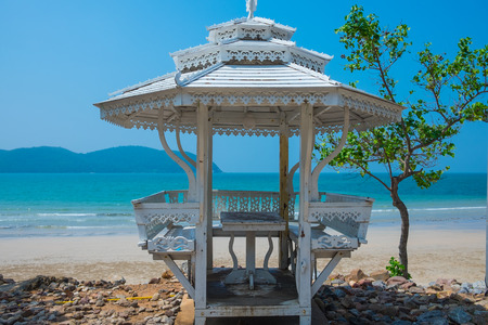 White sun shelter at the sea 스톡 콘텐츠