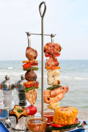 turkish kebab: Duo Meats and Seafood Skewer Stock Photo