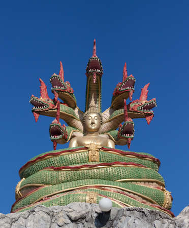 Buddha image and Nagas Stock Photo - 12009150