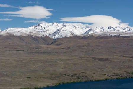aotearoa: A view of Mount Cook National Park from Mount John on the South Isalnd, New Zealand Stock Photo