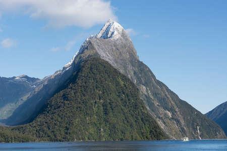 aotearoa: Pyramid Mountain in Milton Sound, New Zealand. Stock Photo