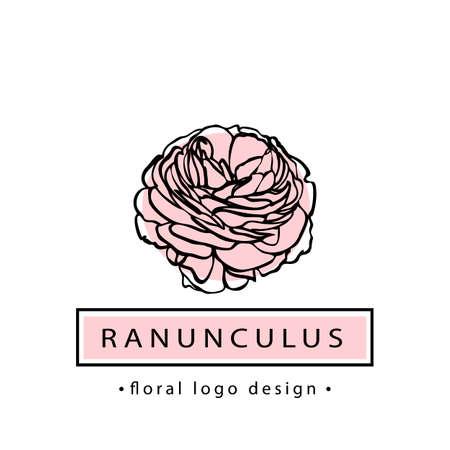 A Vector illustration of ranunculus flower. Floral logotype for flower shop or boutique.