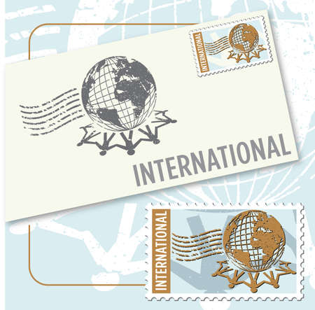 International worldwide stamp and envelope design Illustration