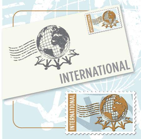 International worldwide stamp and envelope design Vettoriali