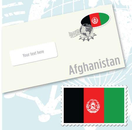 envelope design: Afghanistan country flag stamp and envelope design