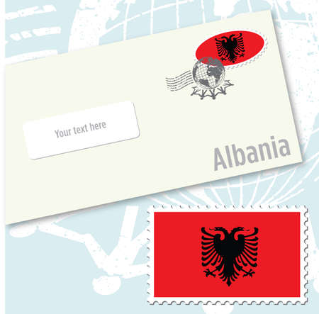 Albania country flag stamp and envelope design
