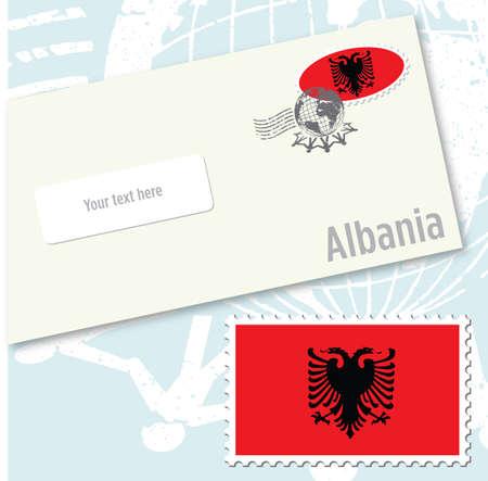 albanie: Albanie pays timbre et enveloppe drapeau