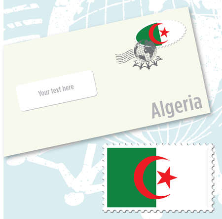 Algeria country flag stamp and envelope design