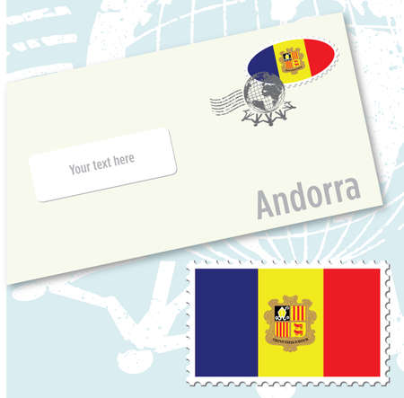 Andorra country flag stamp and envelope design Ilustracja