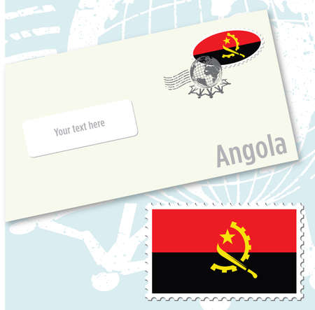 envelope design: Angola country flag stamp and envelope design