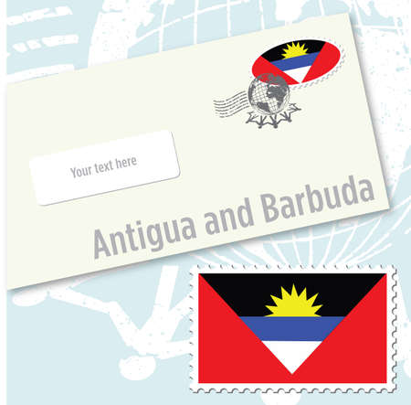 Antigua and Barbuda country flag stamp and envelope design Vector