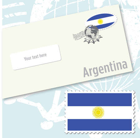 Argentina country flag stamp and envelope design Vettoriali
