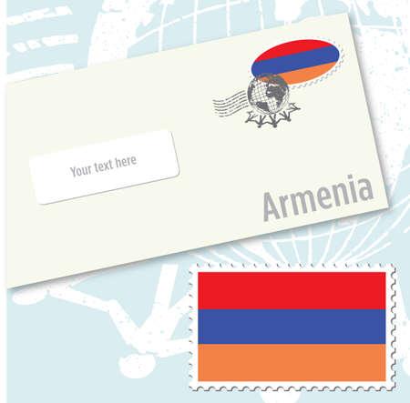 Armenia country flag stamp and envelope design