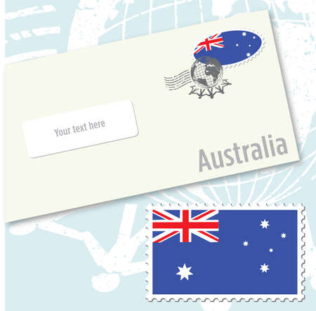 Australia country flag stamp and envelope design
