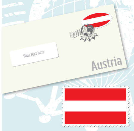 Austria country flag stamp and envelope design