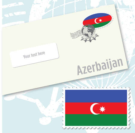 Azerbaijan country flag stamp and envelope design Illustration