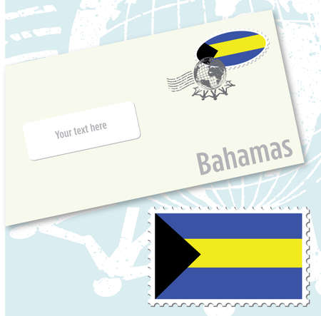 Bahamas country flag stamp and envelope design