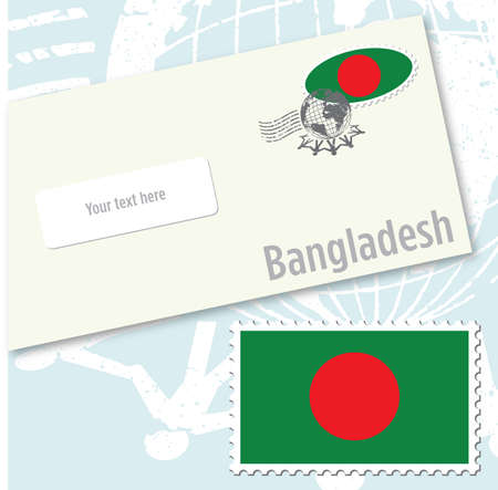 Bangladesh country flag stamp and envelope design
