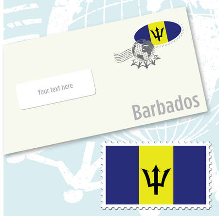 Barbados country flag stamp and envelope design