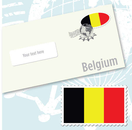 Belgium country flag stamp and envelope design Stock Vector - 8709529