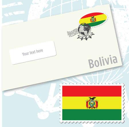Bolivia country flag stamp and envelope design