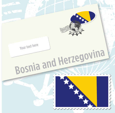 Bosnia and Herzegovina country flag stamp and envelope design Vector