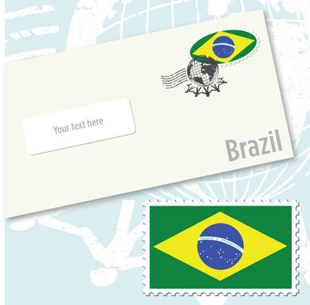 Brazil country flag stamp and envelope design Illustration