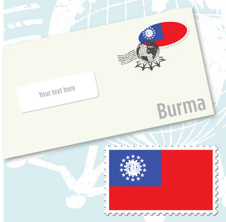 Burma country flag stamp and envelope design