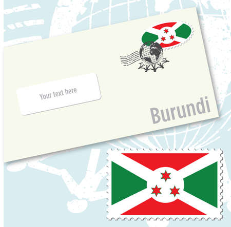 burundi: Burundi country flag stamp and envelope design