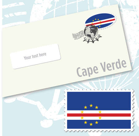 Cape Verde country flag stamp and envelope design