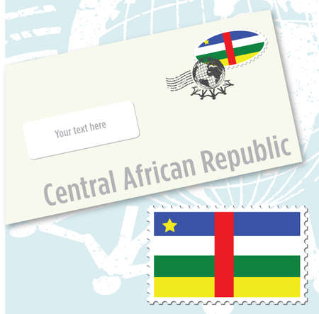 CCentral African Republic country flag stamp and envelope design