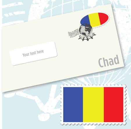 envelope design: Chad country flag stamp and envelope design