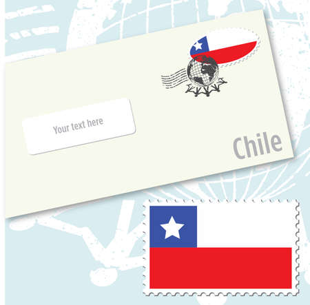 Chile country flag stamp and envelope design Ilustracja