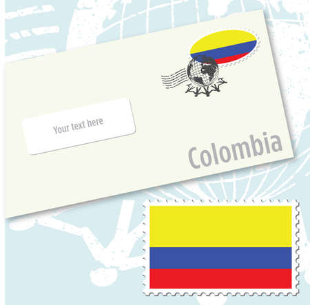 envelope design: Colombia country flag stamp and envelope design