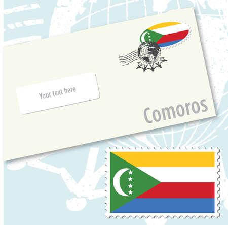 Comoros country flag stamp and envelope design