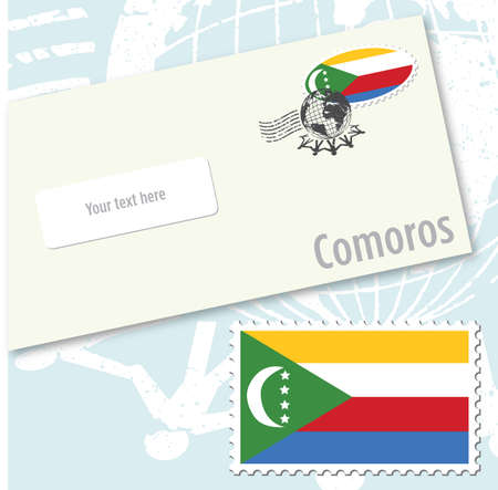 Comoros country flag stamp and envelope design