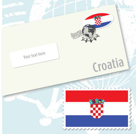 Croatia country flag stamp and envelope design