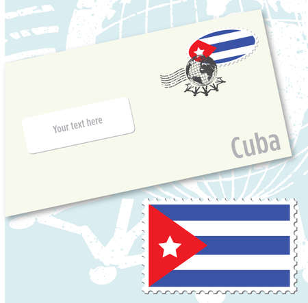 Cuba country flag stamp and envelope design Vector
