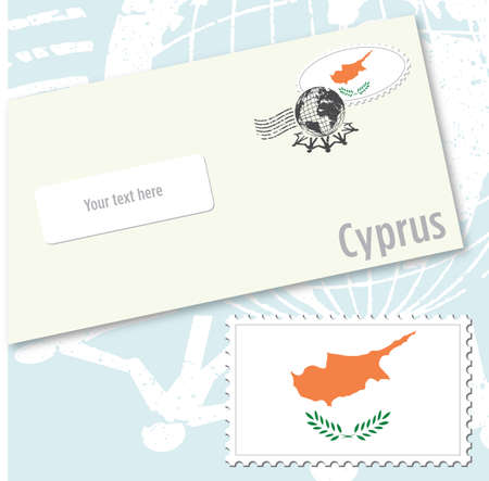 Cyprus country flag stamp and envelope design