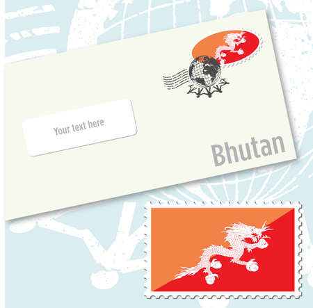 bhutan: Bhutan country flag stamp and envelope design Stock Illustratie