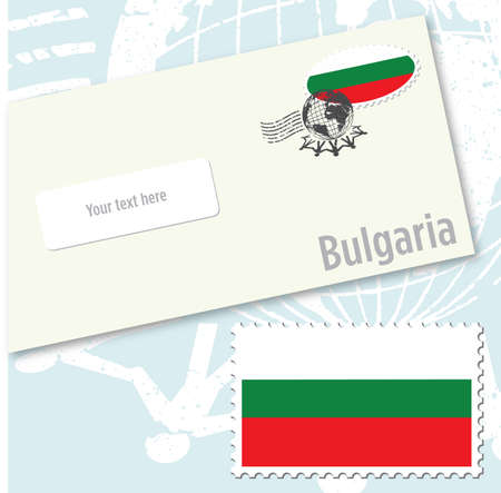 Bulgaria country flag stamp and envelope design Ilustracja