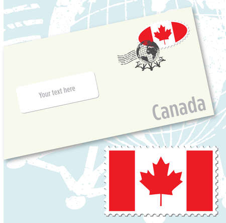 canada stamp: Canada country flag stamp and envelope design Illustration