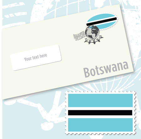 Botswana country flag stamp and envelope design
