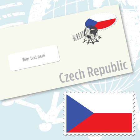 Czech Republic country flag stamp and envelope design