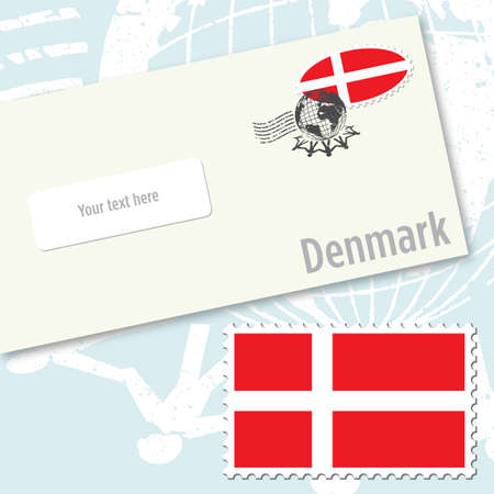 Denmark country flag stamp and envelope design