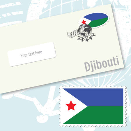 Djibouti country flag stamp and envelope design