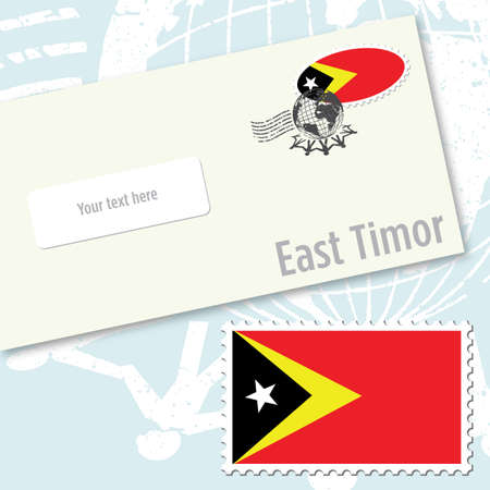 East Timor country flag stamp and envelope design