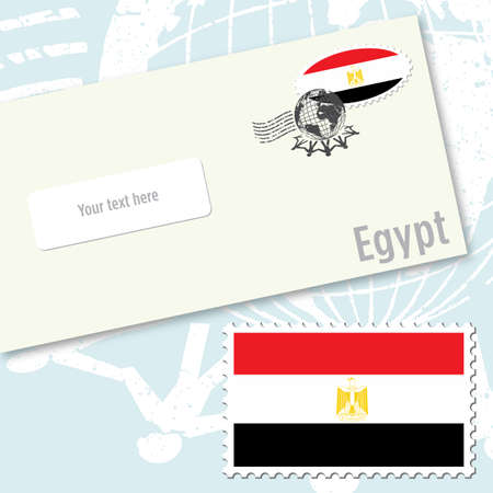 Egypt country flag stamp and envelope design Vector