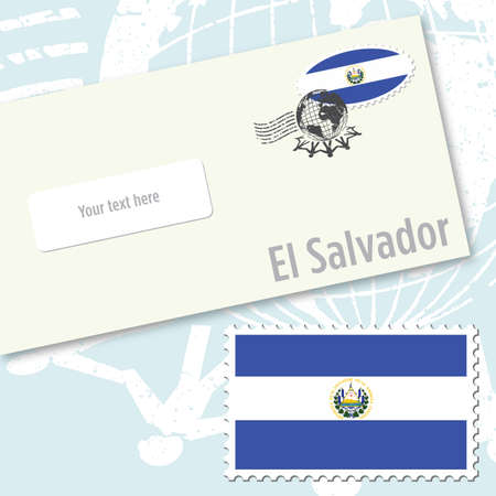 El Salvador country flag stamp and envelope design Vector