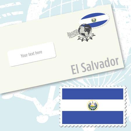El Salvador country flag stamp and envelope design Vector